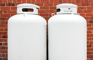Propane tanks on a house's wall