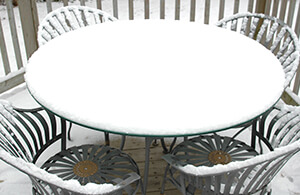 Remember to check if your patio furniture can be outside year-round or not.